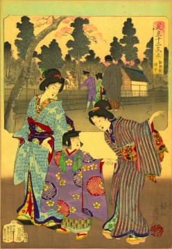 women Painting - One man in the inset wearing Western style clothes compared to the women Toyohara Chikanobu