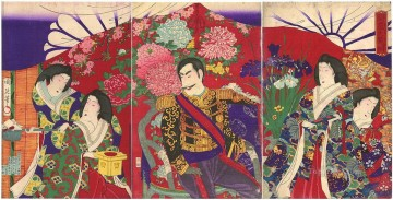 Imperial inspection of the flower The Emperor Empress and court ladies viewing flower arrangements Toyohara Chikanobu Oil Paintings