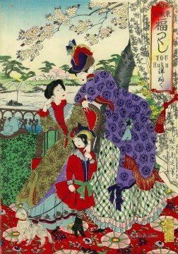 women Painting - Japanese women in Western style clothes Toyohara Chikanobu