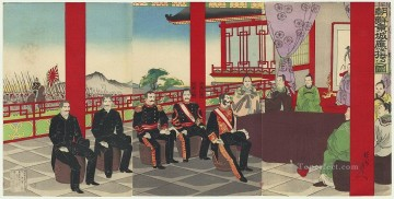 Chikanobu Art Painting - The Japanese Mission to the Koreans Toyohara Chikanobu