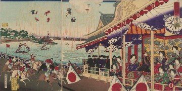 Racing Painting - illustration of horse racing at shinobazu in ueno 1885 Toyohara Chikanobu bijin okubi e