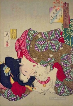 a young woman from kansei period playing with her cat Tsukioka Yoshitoshi beautiful women Oil Paintings