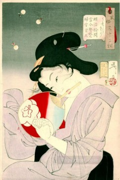 women Painting - delighted the appearance of a geisha today during the meiji era Tsukioka Yoshitoshi beautiful women