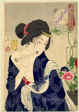 women Painting - looking as if she is waking up the appearance of a maiden of the koka era Tsukioka Yoshitoshi beautiful women