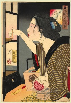 women Painting - looking dark the appearance of a wife during the meiji era Tsukioka Yoshitoshi beautiful women