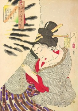 the appearance of a fukagawa nakamichi geisha of the tempo era Tsukioka Yoshitoshi beautiful women Oil Paintings