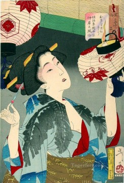 women Painting - the appearance of a kyoto waitress in the meiji era Tsukioka Yoshitoshi beautiful women