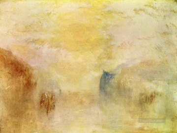Sunrise with a Boat between Headlands Turner Oil Paintings