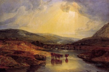 Turner Art - Abergavenny Bridge Monmountshire clearing up after a showery day landscape Turner