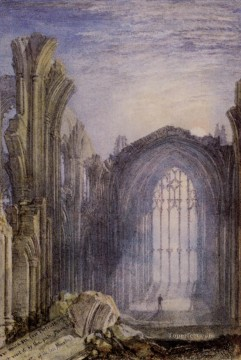 romantic romantism Painting - Melrose Abbey Romantic Turner