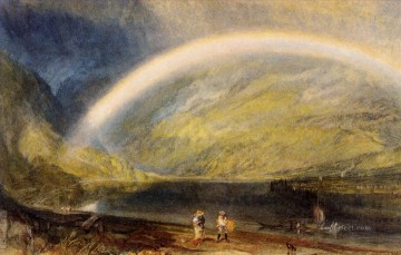 Joseph Mallord William Turner Painting - Rainbow A view on the Rhine from Dunkholder Vineyard of Osterspey Romantic Turner