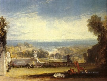 Turner Works - View from the Terrace of a Villa at Niton Isle of Wight from sketch landscape Turner