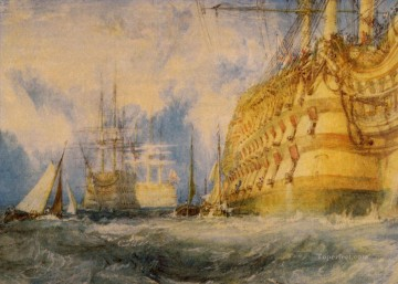 Joseph Mallord William Turner Painting - First Rate taking in stores Romantic Turner