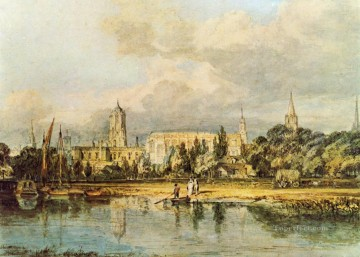 baptism of christ Painting - South View of Christ Church etc from the Meadows landscape Turner