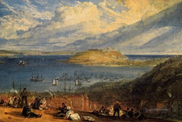 Harbour Painting - Falmouth Harbour Cornwall Romantic Turner