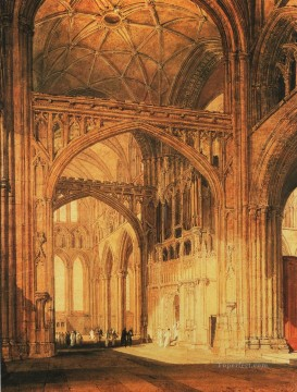 Interior of Salisbury Cathedral Romantic Turner Oil Paintings