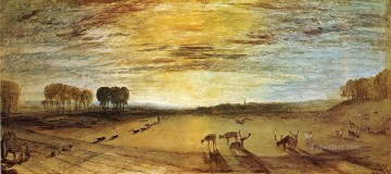 Joseph Mallord William Turner Painting - Petworth Park Tillington Church in the Distance landscape Turner