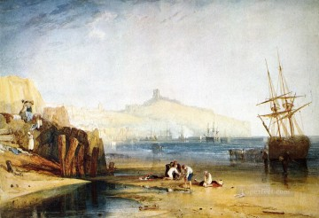 Joseph Mallord William Turner Painting - Scarborough Town and Castle Morning Boys Catching Crabs Romantic Turner