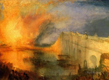 Turner Works - The Burning of the Hause of Lords and commons landscape Turner