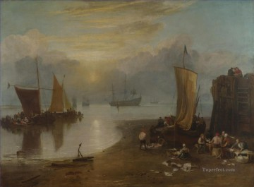 Sun Rising through Vagour Fishermen Cleaning and Sellilng Fish landscape Turner Oil Paintings