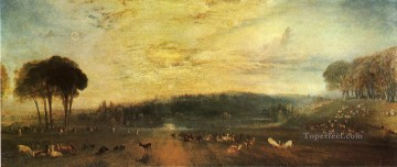 The Lake Petworth sunset fighting bucks Romantic Turner Oil Paintings