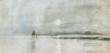 on canvas - Moonlight Flanders Impressionist seascape John Henry Twachtman