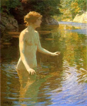 John Henry Twachtman Painting - Enchanted Pool Impressionist nude Edward Henry Potthast