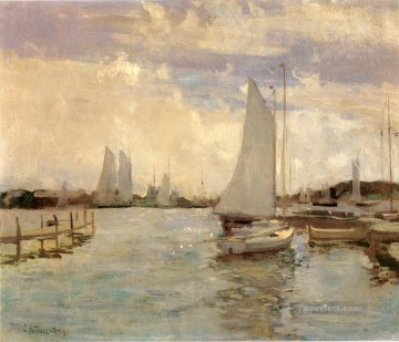 Gloucester Harbor Impressionist seascape John Henry Twachtman Oil Paintings