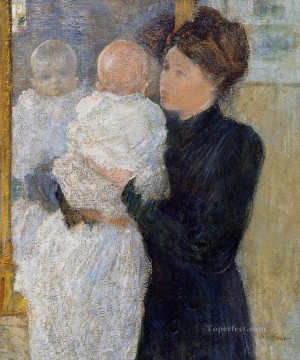 John Henry Twachtman Painting - Mother and Child Impressionist John Henry Twachtman