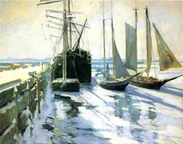 Winter Gloucester Harbor Impressionist seascape John Henry Twachtman Oil Paintings