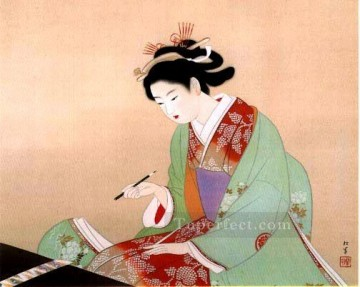 Bijinga 3 Uemura Shoen Bijin ga beautiful women Oil Paintings