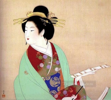 Bijinga Uemura Shoen Bijin ga beautiful women Oil Paintings