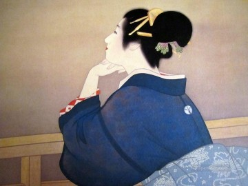 Women Waiting for the Moon to Rise Uemura Shoen Bijin ga beautiful women Oil Paintings