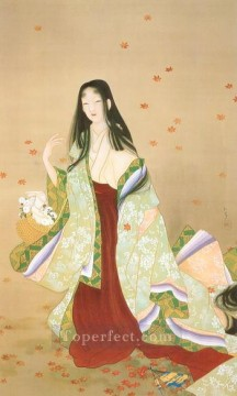 flower basket 1915 Uemura Shoen Bijin ga beautiful women Oil Paintings