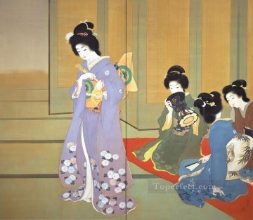 preparing for dance 1914 Uemura Shoen Bijin ga beautiful women Oil Paintings