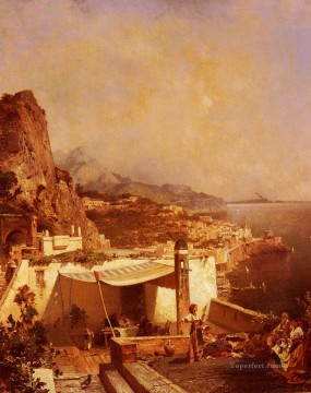 golf Oil Painting - Amalfi Golfe De Salerne scenery Franz Richard Unterberger