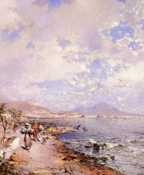 Naples Canvas - Belgian The Bay Of Naples scenery Franz Richard Unterberger