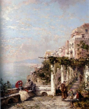 Die Amalfi Kuste The Amalfi Coast scenery Franz Richard Unterberger Oil Paintings