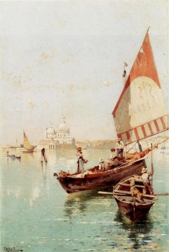 Richard Art Painting - Sailboat In A Venetian Lagoon scenery Franz Richard Unterberger