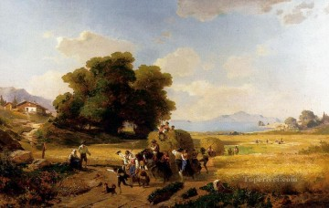 autumn or the grape harvest Painting - The last Day Of The Harvest landscape scenery Franz Richard Unterberger
