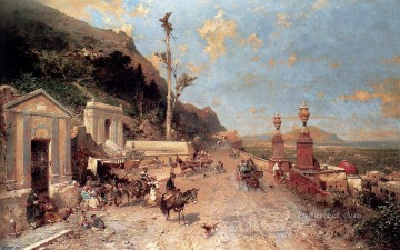 La Strada Monreale Palermo scenery Franz Richard Unterberger Oil Paintings