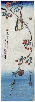 small Art - small bird on a branch of kaidozakura 1848 Utagawa Hiroshige Ukiyoe