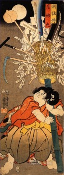 the young benkei holding a pole Utagawa Kuniyoshi Ukiyo e Oil Paintings