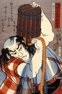 uoya danshichi kurobel pouring a bucket of water over himself Utagawa Kuniyoshi Ukiyo e Oil Paintings