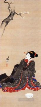 woman seated under a cherry blossoms Utagawa Kuniyoshi Ukiyo e Oil Paintings