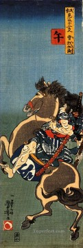 horse soga goro on a rearing horse Utagawa Kuniyoshi Ukiyo e Oil Paintings