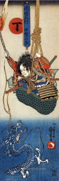 koga saburo suspendeding a basket watching a dragon Utagawa Kuniyoshi Ukiyo e Oil Paintings
