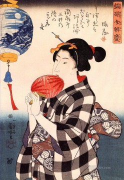 woman with fan Utagawa Kuniyoshi Ukiyo e Oil Paintings