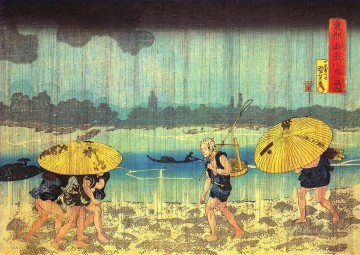 at the shore of the sumida river Utagawa Kuniyoshi Ukiyo e Oil Paintings