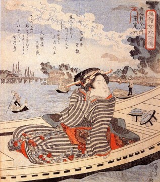 boat - woman in a boat on the sumida river Utagawa Kuniyoshi Ukiyo e